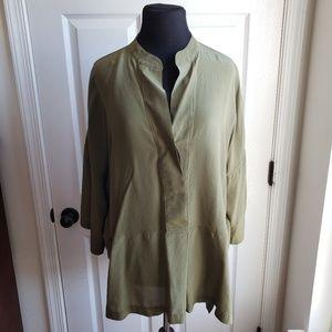 J. Crew XL Green Silk Kimono Tunic Top Stain